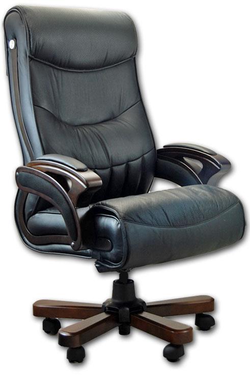 W superbly Fotel biurowy skórzany dla prezesa 004 czarny MQ63