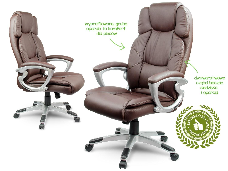 Świeże Fotel biurowy skórzany Sofotel EG-227 brązowy BV51